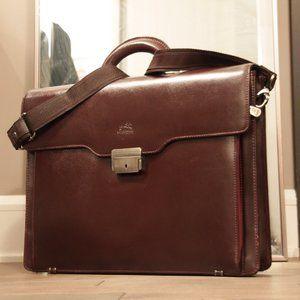 Mancini Burgundy Slim Leather Briefcase